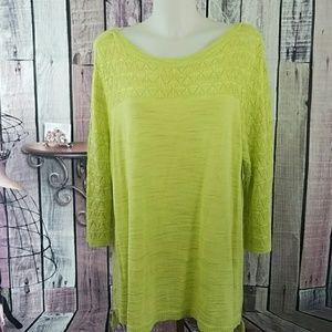 CJ Banks Lime Green Long Knit Sweater